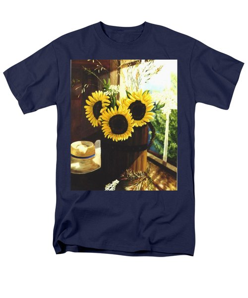 Men's T-Shirt  (Regular Fit) featuring the painting Sunflower Sill by Renate Nadi Wesley