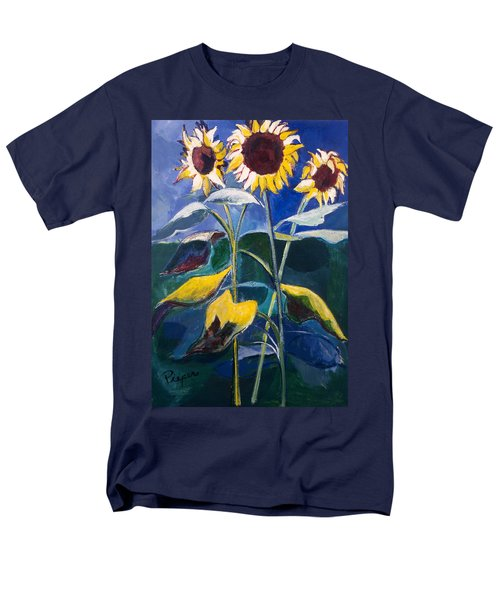 Men's T-Shirt  (Regular Fit) featuring the painting Sunflowers Standing Tall by Betty Pieper