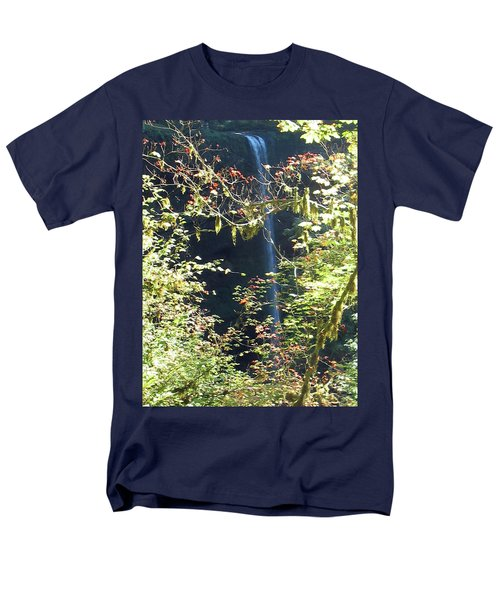 Men's T-Shirt  (Regular Fit) featuring the photograph Sunlite Silver Falls by Thomas J Herring