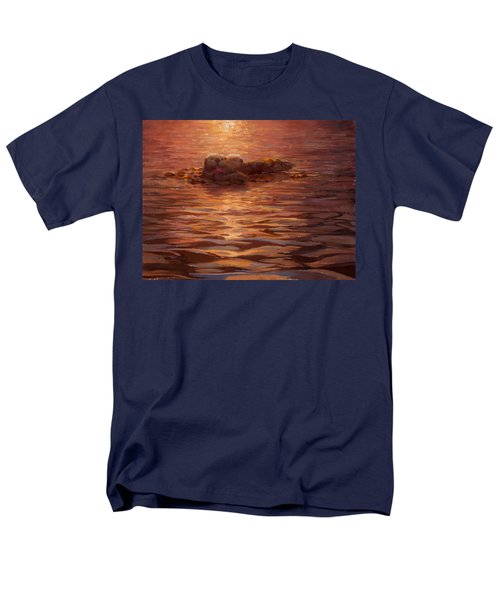 Men's T-Shirt  (Regular Fit) featuring the painting Sunset Snuggle - Sea Otters Floating With Kelp At Dusk by Karen Whitworth