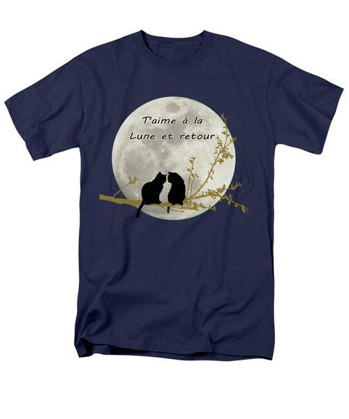 Men's T-Shirt  (Regular Fit) featuring the digital art T'aime A La Lune Et Retour by Linda Lees