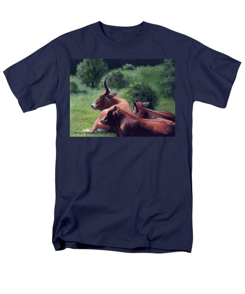 Men's T-Shirt  (Regular Fit) featuring the painting Tennessee Longhorn Steers by Janet King