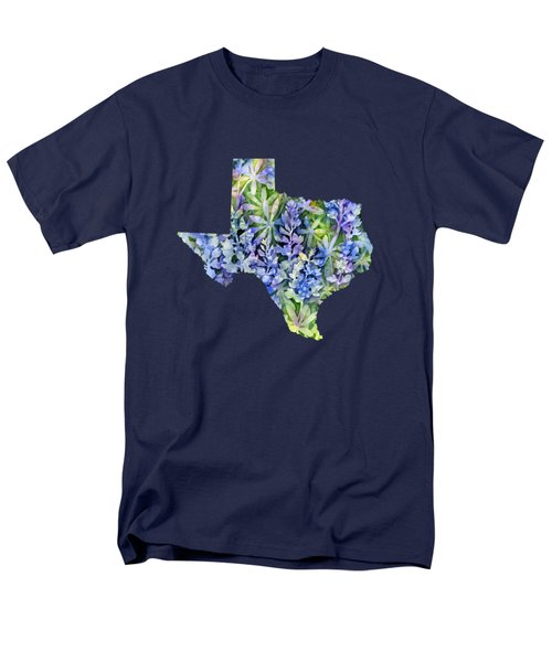 Men's T-Shirt  (Regular Fit) featuring the painting Texas Blue Texas Map On White by Hailey E Herrera