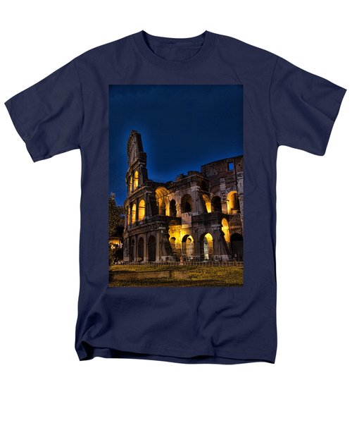 The Coleseum In Rome At Night Men's T-Shirt  (Regular Fit) by David Smith