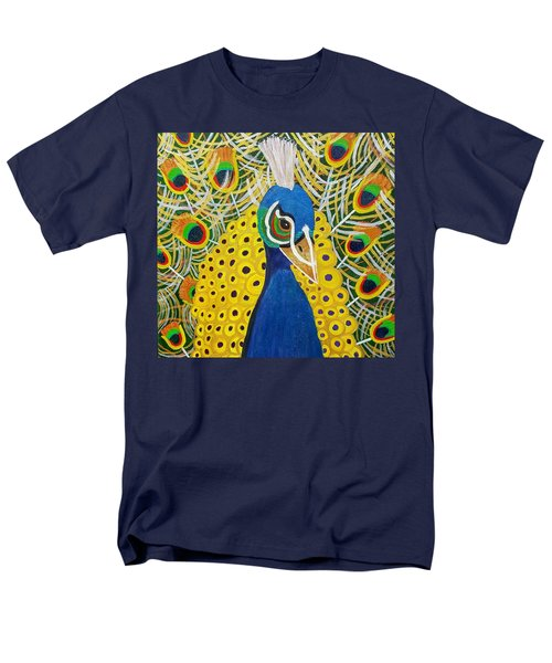 Men's T-Shirt  (Regular Fit) featuring the painting The Eye Of The Peacock by Margaret Harmon