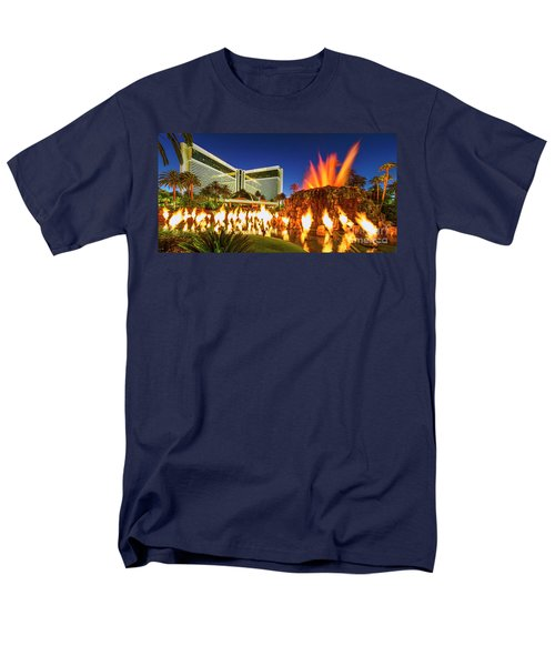 The Mirage Casino And Volcano Eruption At Dusk Men's T-Shirt  (Regular Fit) by Aloha Art