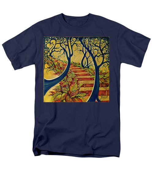Men's T-Shirt  (Regular Fit) featuring the painting The Stairs To Now by Anna Ewa Miarczynska