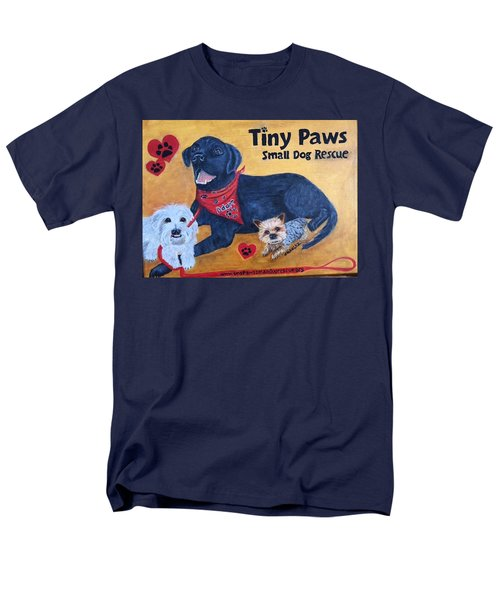 Men's T-Shirt  (Regular Fit) featuring the painting Tiny Paws Small Dog Rescue by Sharon Schultz