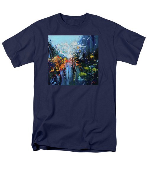 Men's T-Shirt  (Regular Fit) featuring the painting Traffic Seen Through A Rainy Windshield by Dan Haraga
