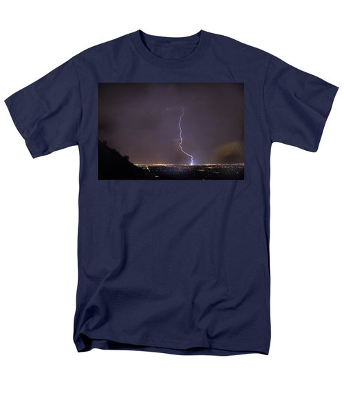 Men's T-Shirt  (Regular Fit) featuring the photograph It's A Hit Transformer Lightning Strike by James BO Insogna