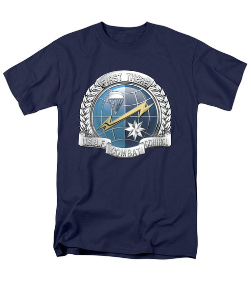 U. S.  Air Force Combat Control Teams - Combat Controller C C T Badge Over Blue Velvet Men's T-Shirt  (Regular Fit) by Serge Averbukh