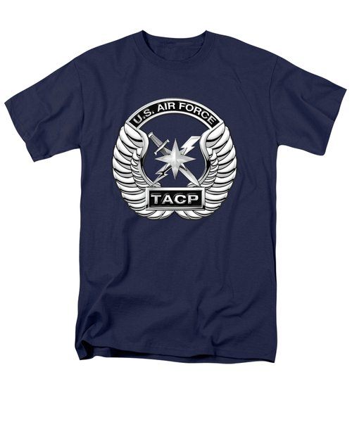 Men's T-Shirt  (Regular Fit) featuring the digital art U. S.  Air Force Tactical Air Control Party -  T A C P  Badge Over Blue Velvet by Serge Averbukh