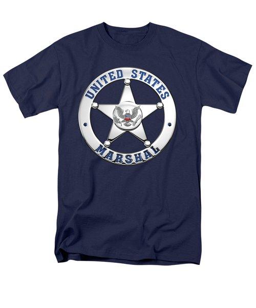 Men's T-Shirt  (Regular Fit) featuring the digital art U. S. Marshals Service  -  U S M S  Badge Over Blue Velvet by Serge Averbukh