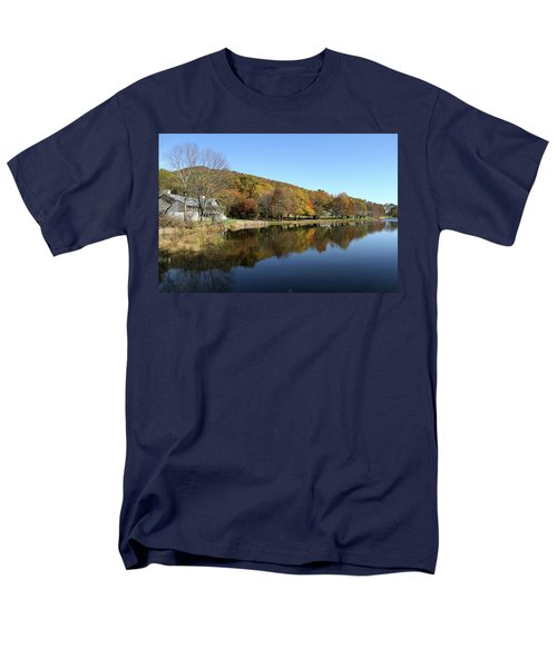 Men's T-Shirt  (Regular Fit) featuring the photograph View Of Peaks Of Otter Lodge And Abbott Lake  In Autumn by Emanuel Tanjala