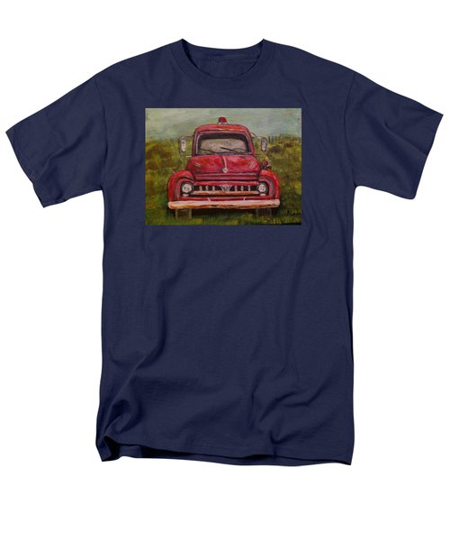 Men's T-Shirt  (Regular Fit) featuring the painting Vintage  Ford Fire Truck by Belinda Lawson