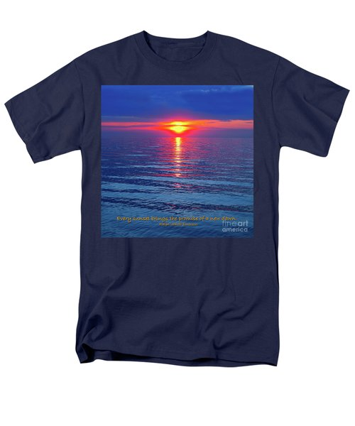 Vivid Sunset - Emerson Quote - Square Format Men's T-Shirt  (Regular Fit) by Ginny Gaura