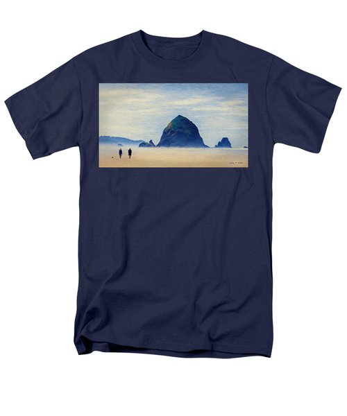 Men's T-Shirt  (Regular Fit) featuring the painting Walk On The Beach by Jeff Kolker