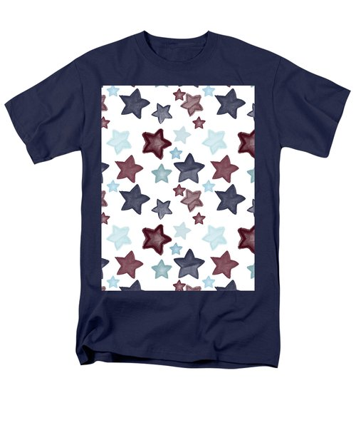 Watercolor Blue Red Stars Men's T-Shirt  (Regular Fit) by P S