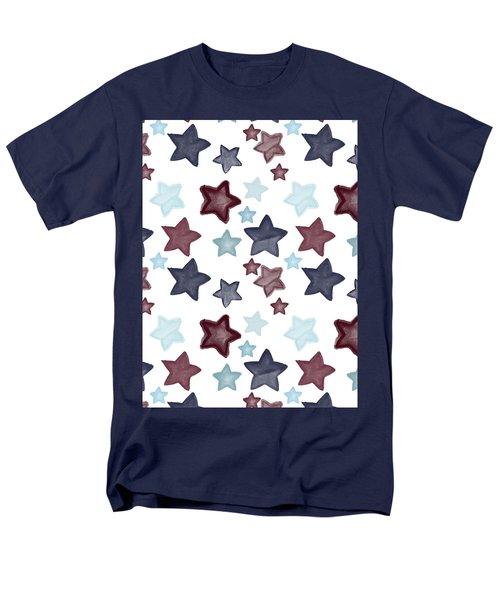 Watercolor Blue Red Stars Men's T-Shirt  (Regular Fit)