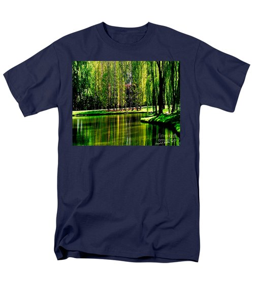 Weeping Willow Tree Reflective Moments Men's T-Shirt  (Regular Fit) by Carol F Austin