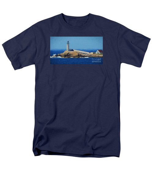 Men's T-Shirt  (Regular Fit) featuring the painting White Island Lighthouse by Mim White