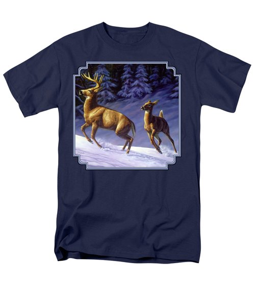 Whitetail Deer Painting - Startled Men's T-Shirt  (Regular Fit) by Crista Forest