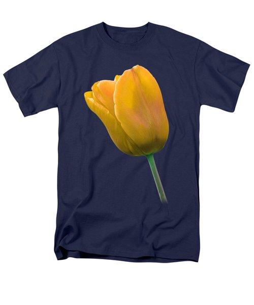 Yellow Tulip On Black Men's T-Shirt  (Regular Fit) by Gill Billington