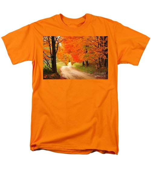 Men's T-Shirt  (Regular Fit) featuring the photograph Autumn Trail by Terri Gostola