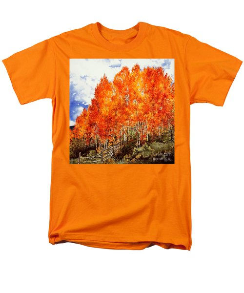 Men's T-Shirt  (Regular Fit) featuring the painting Flaming Aspens 2 by Barbara Jewell