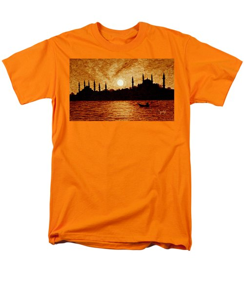 Men's T-Shirt  (Regular Fit) featuring the painting Sunset Over Istanbul Original Coffee Painting by Georgeta  Blanaru