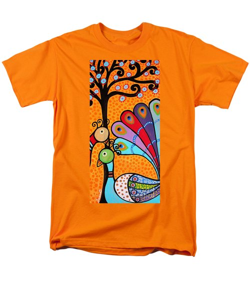 Men's T-Shirt  (Regular Fit) featuring the painting 2 Peacocks And Tree by Pristine Cartera Turkus