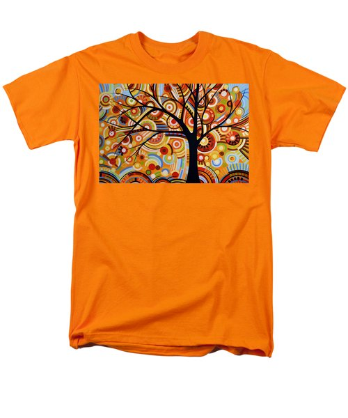 Men's T-Shirt  (Regular Fit) featuring the painting Abstract Modern Tree Landscape Thoughts Of Autumn By Amy Giacomelli by Amy Giacomelli