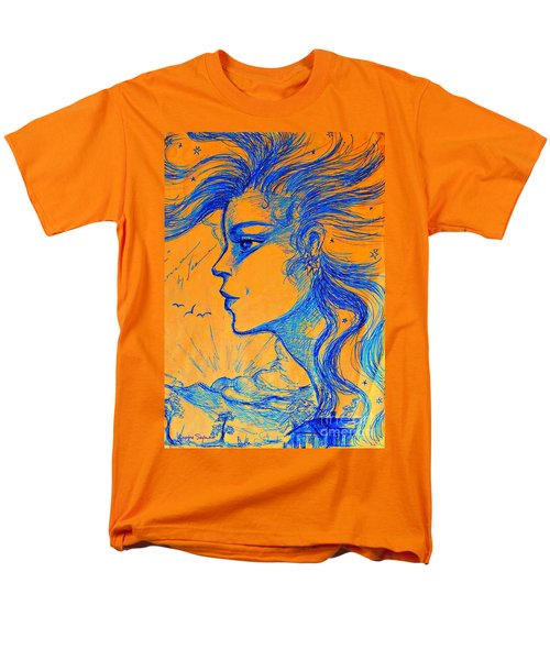Men's T-Shirt  (Regular Fit) featuring the drawing Anima Sunset by Leanne Seymour