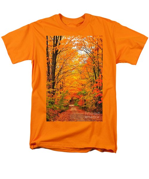 Autumn Tunnel Of Trees Men's T-Shirt  (Regular Fit) by Terri Gostola