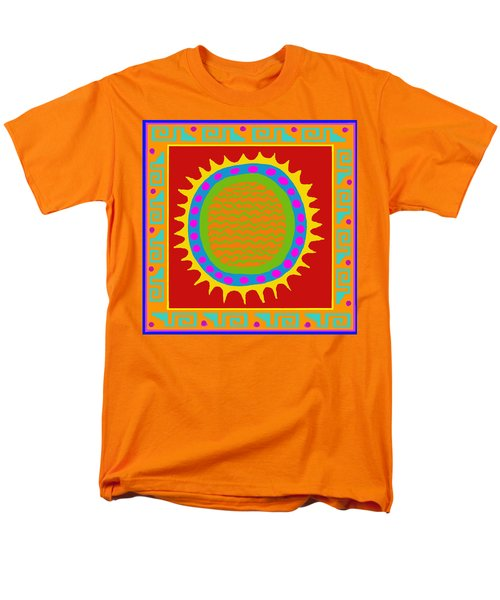 Men's T-Shirt  (Regular Fit) featuring the digital art Aztec Del Sol by Vagabond Folk Art - Virginia Vivier