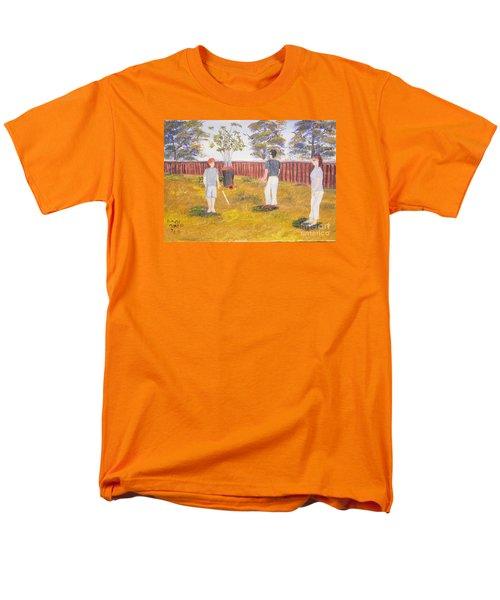 Men's T-Shirt  (Regular Fit) featuring the painting Backyard Cricket Under The Hot Australian Sun by Pamela  Meredith