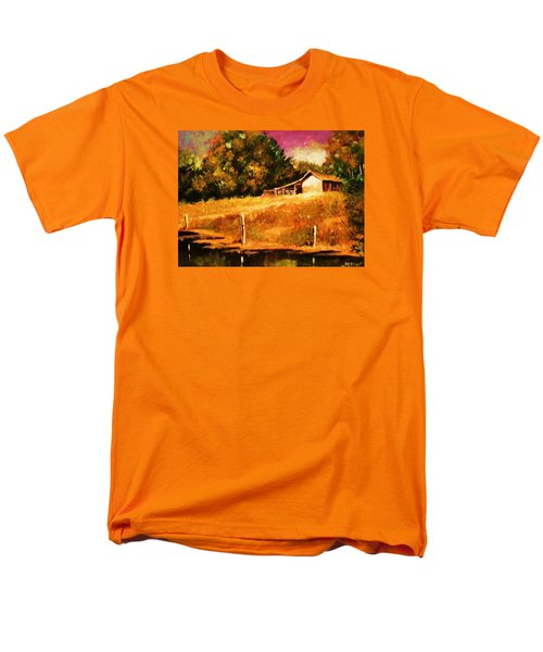 Men's T-Shirt  (Regular Fit) featuring the painting Barn Above The Creekbed by Al Brown