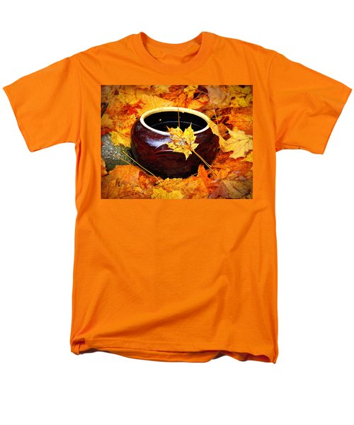 Men's T-Shirt  (Regular Fit) featuring the photograph Bowl And Leaves by Rodney Lee Williams