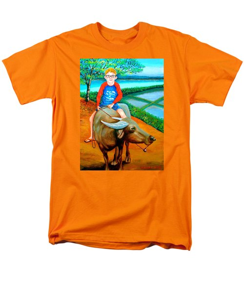 Boy Riding A Carabao Men's T-Shirt  (Regular Fit) by Lorna Maza