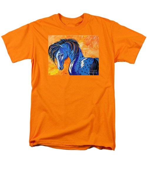 Men's T-Shirt  (Regular Fit) featuring the painting Cadet The Blue Horse by Janice Rae Pariza