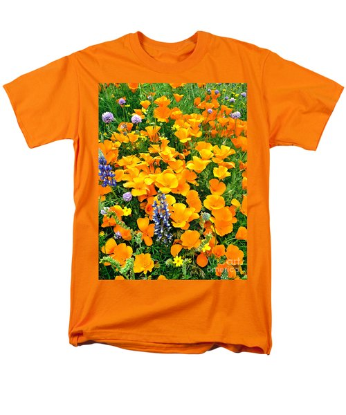 California Poppies And Betham Lupines Southern California Men's T-Shirt  (Regular Fit) by Dave Welling