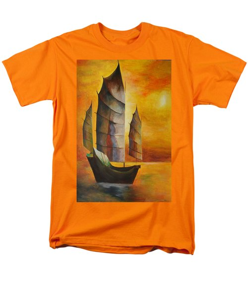 Men's T-Shirt  (Regular Fit) featuring the painting Chinese Junk In Ochre by Tracey Harrington-Simpson