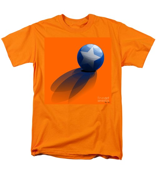 Men's T-Shirt  (Regular Fit) featuring the digital art Blue Ball Decorated With Star Orange Background by R Muirhead Art