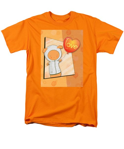 Cute Lots Of Love Love You Cute Character Holding A Love Balloons  Men's T-Shirt  (Regular Fit) by Lenny Carter