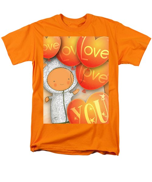 Cute Teddy With Lots Of Love Balloons Men's T-Shirt  (Regular Fit) by Lenny Carter