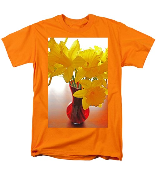 Men's T-Shirt  (Regular Fit) featuring the photograph Daffodils In Red Vase by Diane Alexander