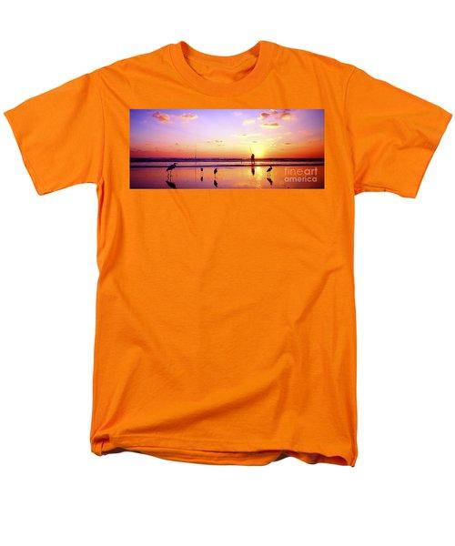 Men's T-Shirt  (Regular Fit) featuring the photograph Daytona Beach Fl Surf Fishing And Birds by Tom Jelen