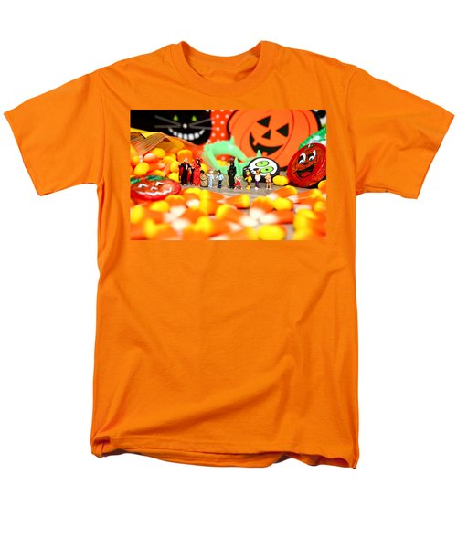Death Takes His Kids Trick Or Treating Men's T-Shirt  (Regular Fit) by Lon Casler Bixby