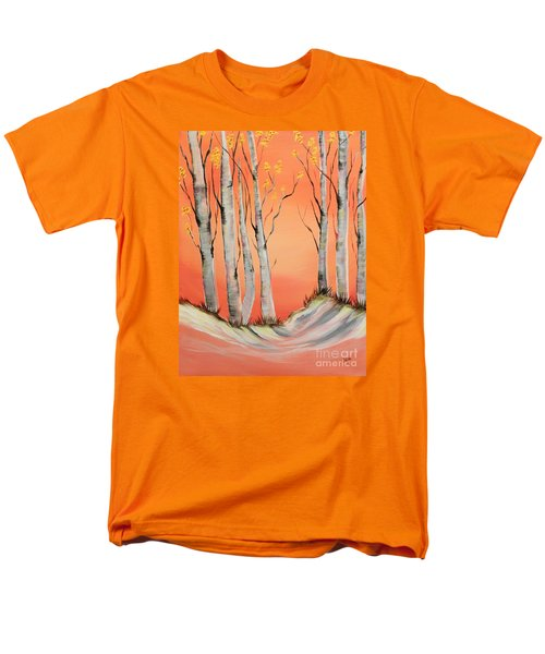 Men's T-Shirt  (Regular Fit) featuring the painting Early Winter Aspen by Janice Rae Pariza