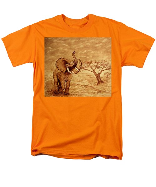Men's T-Shirt  (Regular Fit) featuring the painting Elephant Majesty Original Coffee Painting by Georgeta  Blanaru